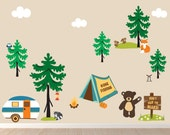 Camping Decal, Boys Girls Wall Decal, REUSABLE Fabric Decal, Eco-friendly, NO PVCs, WD4