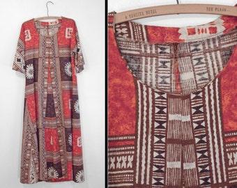 1970s Tribal Dashiki Orange Cream Brown Boho Size M L Maxi Dress