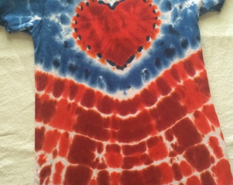 Girl's Small 4th of July Red White and Blue Heart Tie Dye Ruffle Tee