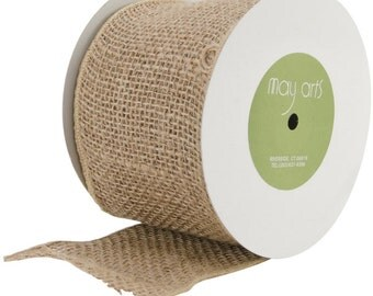 "May Arts Ivory Cream Burlap Ribbon - 4"" Wide - Not Wired  - Sold Per Yard"