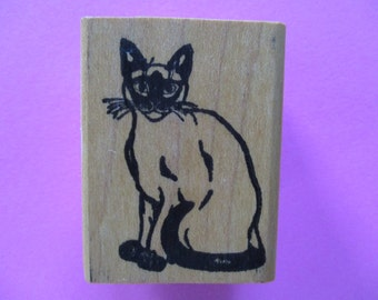 Siamese CAT Kitty Rubber Stamp Wood Mounted 1980 Vintage Funny Business Stamp USA