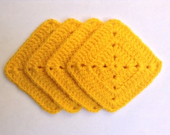 Crochet Square Coasters Handmade Yellow