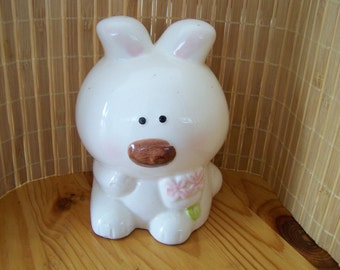 "Vintage 80's ""BUNNY RABBIT"" Piggy /Coin Bank"