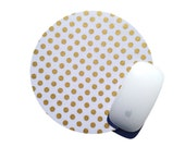 Metallic Gold Dot Mouse Pad / White Polkadot Modern Office Desk Decor / Home Work Accesory Polka Dot