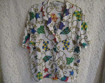 NAUTICAL VINTAGE BLOUSE - Very Cool and Great Design - Great Fabric