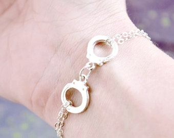 Handcuff Charm Bracelets, Handcuffs Bracelet, Partners in Crime, Silver Hand Cuff, Sterling Bracelet, Friendship Bracelet, Bff Bracelet