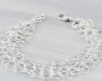 Multi Chain Bracelet - Statement Jewelry - Charm Bracelet - Link Bracelet - Silver Chain - Sterling Chain - Chunky Bracelet