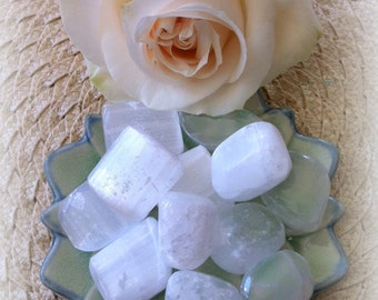 Tumbled Selenite - The Happiness Stone for manifesting fulfillment, seeing possibility, healing and clarity  - all chakras