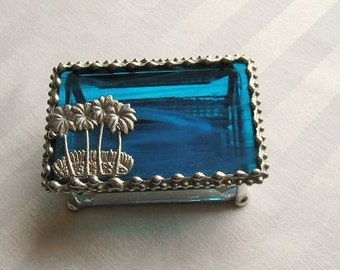 Stained Glass Jewelry Box|Palm Trees|Palmtree Jewelry Box|Palmtree Box|Blue|Jewelry|Jewelry Storage|Palm Tree Design|Handcrafted|Made in USA