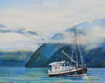 Watercolor ORIGINAL Navigating the Northwest boat British Columbia travel cruise