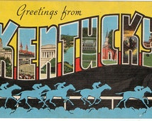 Linen Postcard, Greetings from Kentucky, Horse Racing, Large Letter, ca 1950