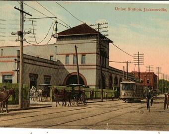 Vintage Postcard, Jacksonville, Florida, Union Station Railroad Station, 1912