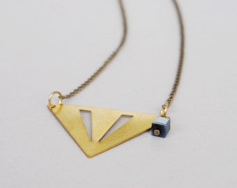 Brass Triangle Pendant, Geometric Necklce, Art Deco