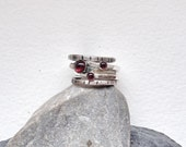 Stacking Rings - Garnet Rings - Handmade Silver Rings