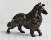 Vintage Antique 1950s Brown Ceramic Collie Dog Collectible Statue Figurine Carnival Prize