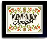 Welcome Sign Kitchen Decor Pineapple Home Decor Welcome Friends Mexican  Wall Art Friendship Gift Pineapple Decor Bienvenidos Amigos