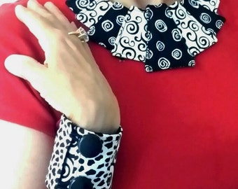 Wearable Art Fabric necklace and Cuff bracelet Set