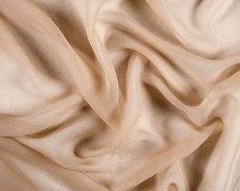 "42"" Wide 100% Silk Crinkled Chiffon Antique Gold by the yard"