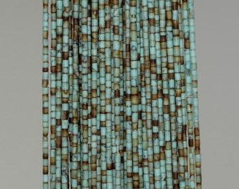 1mm Turquoise Gemstone Green Brown Round Tube Heishi Loose Beads 14 inch Full Strand (90184276-849)