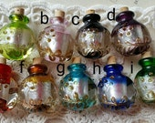 28 x 23 mm Lampwork Perfume Glass Vials / 5 mm mouth size / with cork (a.g)(C-D)