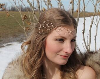 Gold Elfin Tiara, Wire Elfin Crown, Forehead Crown, Regal, Rennaissance Crown, princess, midieval,