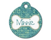 Teal Polka Dots - Personalized Pet Tags, Custom Pet Tags, Dog ID Tags, Cat ID Tags, Dog Tags for Dogs, Dog License Tags - Pattern Pet Tags