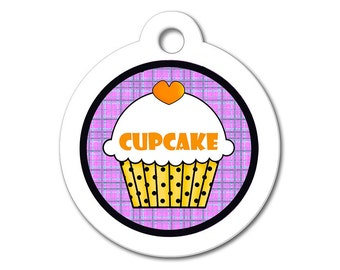Cute Dog Tag - Orange Cupcake with Purple Pattern Background - Personalized ID Name Tag for Dogs & Cats, Dog ID Tag, Dog Tag for Dogs