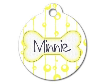Yellow Bubbles - Personalized Pet Tag, Custom Pet Tag, Dog ID Tag, Cat ID Tag, Dog Tags for Dogs, Stainless Steel Pet Tag - Pattern Pet Tags