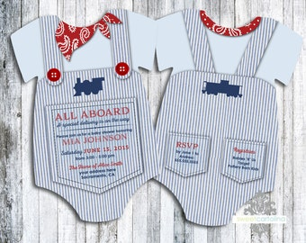 Train Baby Shower Invitation - Baby Boy  - Engineer - Trains - Baby Shower - Invite - Cardstock - Pick your Qty