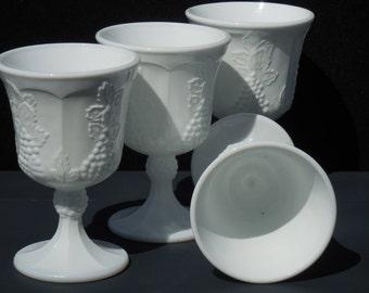 Vintage Milk Glass Colony Harvest Goblets