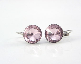 Bridesmaid Gift, Valentines Day Light pink Earrings Swarovski Crystal Rivoli earrings, Lever back dangle Earrings, bridal jewelry
