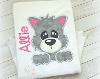 Cute cat shirt - gray kitten shirt - personalized kitten shirt - gray cat - monogrammed shirt with cat - embroidered kitten/cat shirt