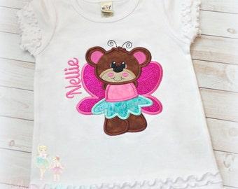 Teddy bear fairy shirt - fairy bear - personalized shirt with fairy bear - embroidered fairy shirt - little teddy bear shirt for girls
