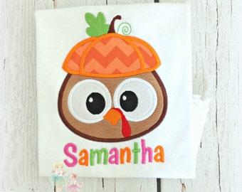 Kids Thanksgiving shirt - Girls turkey shirt - First Thanksgiving shirt - turkey pumpkin - girls thanksgiving turkey embroidered shirt