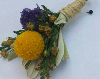 Set of 4 Rustic Dried Flower Boutonniere Billy Ball Yellow and Purple Flowers For Wedding or Prom