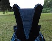 Vintage Scott McClintock Taffeta Blue and Black Velvet Strapless Corset Steampunk Goth Vamp Gown Dress with Attached Crinoline Slip