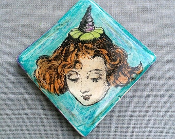 Zetti Red Head Lady Handmade Polymer Clay Cabochon Rubber Stamped Resin Art