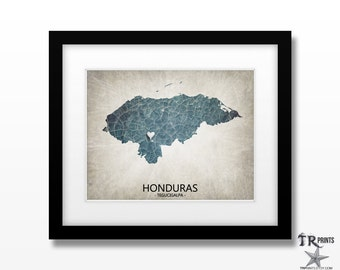 Honduras Map Art Print - Home Is Where The Heart Is Love Map - Original Custom Map Art Print Available in Multiple Sizes