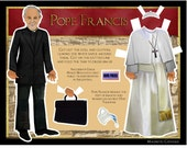 Pope Francis DIY digital download paper doll Catholic collage print and cut