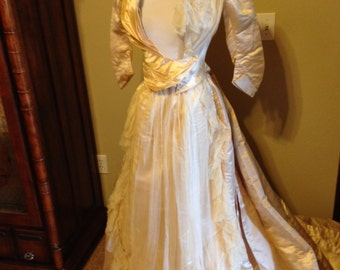 Antique Victorian Gilded Age Satin and Lace Wedding Gown Vanilla Champagne