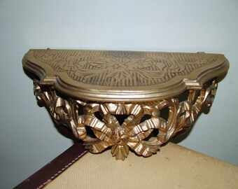 Syrocco Regency ornamental S scroll design 1/2 round shelf Cut out Ribbons bows Italy