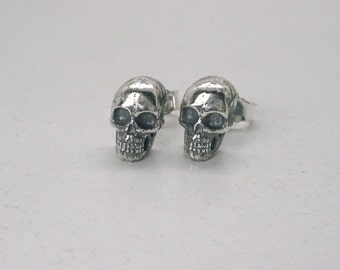 Tiny Human Skull Ear Studs Sterling Silver