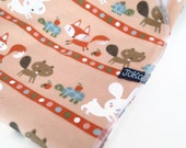 Handmade XL Flannel Receiving blanket / Swaddle blanket - Fox Raccoon and woodland animals on a peach background
