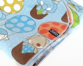 Handmade XL Flannel Receiving blanket / Swaddle blanket - Zoo Animals in Hot Air Balloons on Blue
