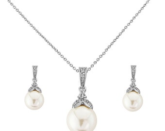 CZ elegant pearl drop necklace set, cubic zirconia necklace and earrings