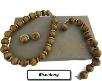 Eisenberg Jewelry Enamel Jewelry 1970s Vintage Boho Jewelry Set Gift Set Beaded Necklace Bracelet Clip On Earrings Brown Gold Beaded