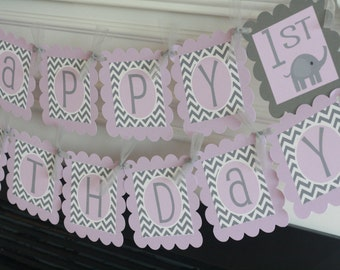 Happy Birthday Lavender Purple Grey Chevron Elephant Banner - Ask About Our Party Pack Specials - Free Ship Over 65.00