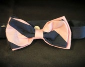 Navy and Pink Striped Bow Tie