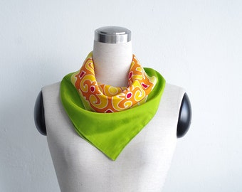 Summer scarves - tribal neck scarf hand painted in spring colors green yellow orange. Small square scarflette gift for women. Cotton or silk