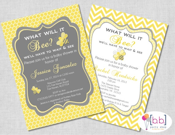 Bee- What will it Bee Baby Shower or Gender Reveal Invitation (gray & yellow)